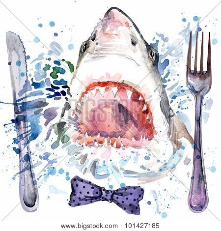 hungry shark T-shirt graphics. shark illustration with splash watercolor textured background.