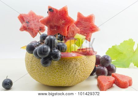 Healthy Attractive Fruit Salad Served In A Fresh Melon
