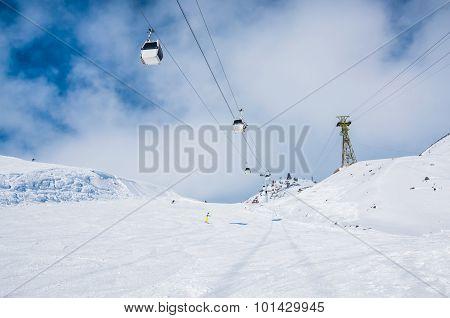 Ski Slope And Cable Car On The Ski Resort Elbrus