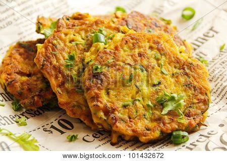 Zucchini fritters side view