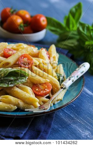 Penne pasta with tomato and basil side view