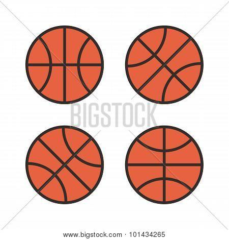 Basketball ball outline color icons, modern minimal flat design style. Vector illustration, icon set