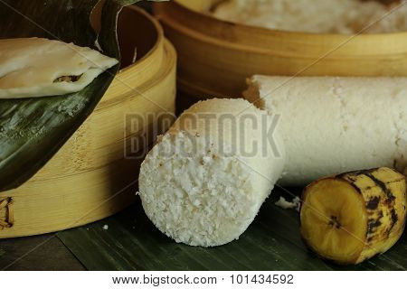 Breakfast - Rice Puttu and steamed plantain banana