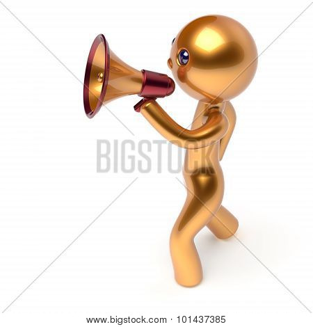 Man Speaking Bullhorn Megaphone Character Making Sale