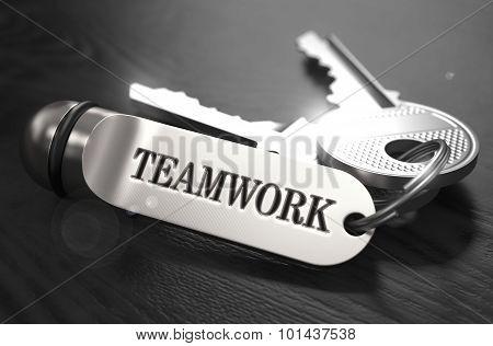 Teamwork Concept. Keys with Keyring.