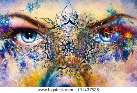 Blue goddess women eye, multicolor background with mandala linear ornament. eye contact.