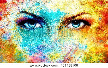 Blue goddess women eye, multicolor background with oriental mandala ornament. eye contact.