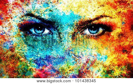 Blue goddess women eye, multicolor background with oriental mandala ornament. eye contact.