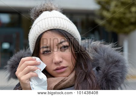 Sad Tearful Woman Holding A Handkerchief
