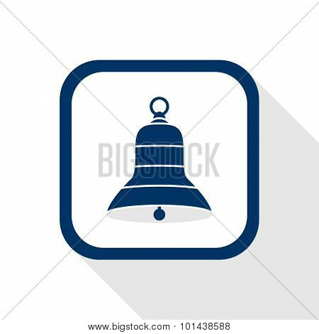 Square Blue Icon Bell With Long Shadow