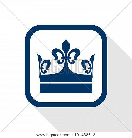 Square Blue Icon King Crown With Long Shadow