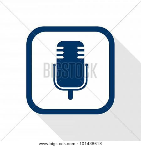 Square Blue Icon Microphone With Long Shadow