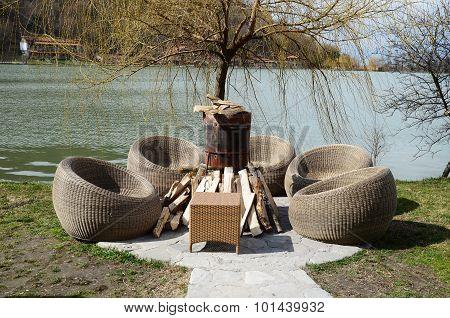 Place for rest at the lake Lopota. Kakheti, Georgia