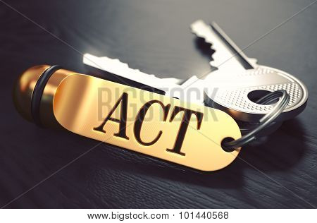 Act Concept. Keys with Golden Keyring.