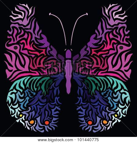 Colorful Image Of Butterfly In Abstract Art Style