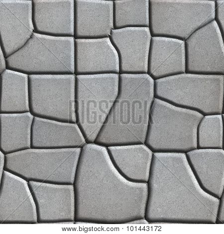 Gray Figured Paving Slabs of Different Value which Imitates Natural Stone.