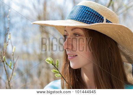 Freckled Happy Girl In Hat Looking Away
