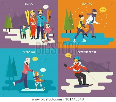 Family with kids concept flat icons set of winter sport