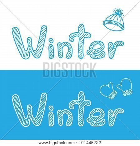 Winter bacgrounds with cap and mittens