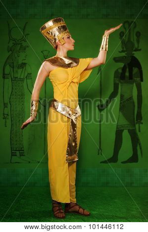 Egyptian Woman In Costume Of The Pharaoh