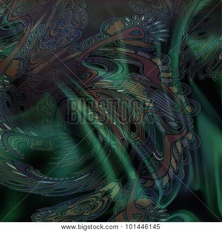 Floral Pattern On Dark Green Background, fabric