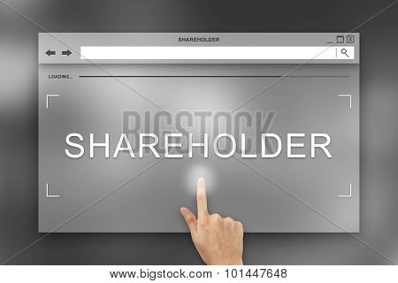 Hand Press On Shareholder Button On Website
