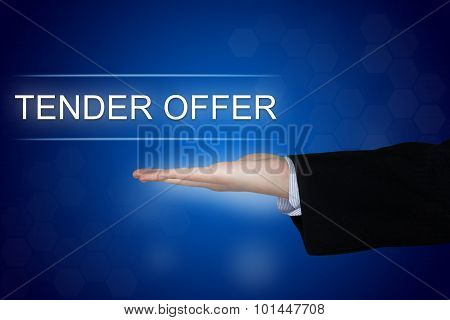 Tender Offer Button On Blue Background