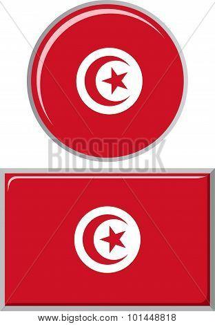 Tunisian round and square icon flag. Vector illustration.