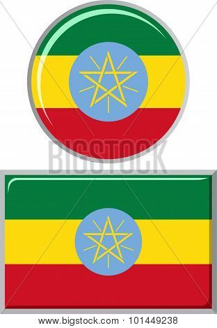 Ethiopian round and square icon flag. Vector illustration.