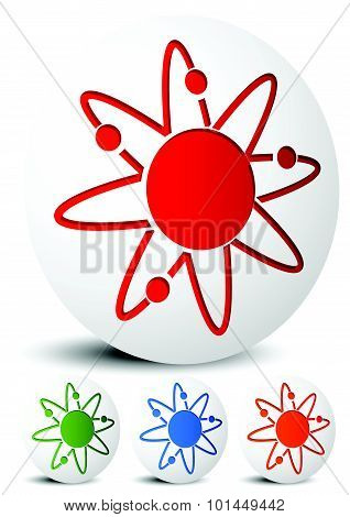 Atom, Nucleus Icon. Atom With Orbiting Electrons.
