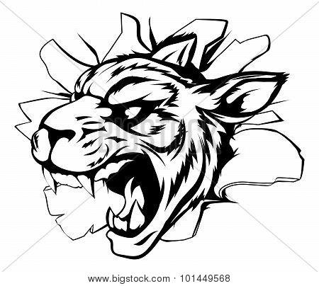 Tiger Mascot Breaking Through Wall