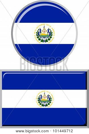 El Salvador round and square icon flag. Vector illustration.