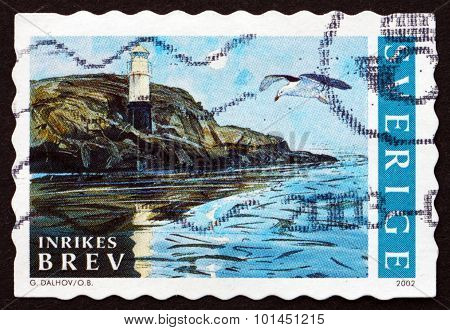 Postage Stamp Sweden 2002 Lighthouse And Gull