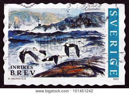 Postage Stamp Sweden 2002 Lighthouse And Three Birds