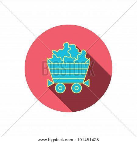 Minerals icon. Wheelbarrow with jewel gemstones.