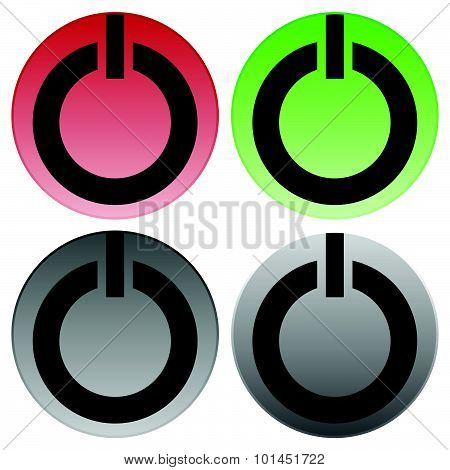 Power Buttons Vector. Power Switches, Turn On, Turn Off, Shut Down, Ignite Buttons.