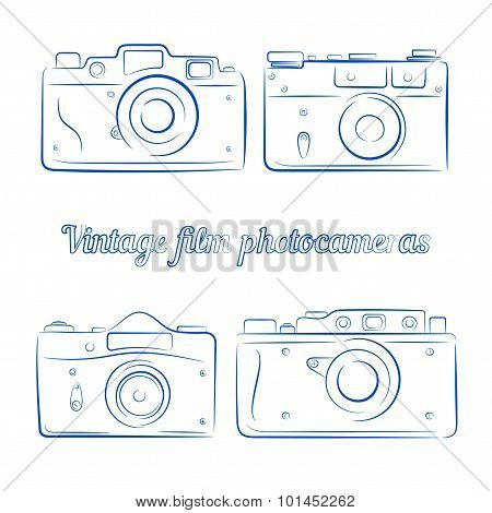 Vector Set Of Vintage Blue Ink Film Photocameras