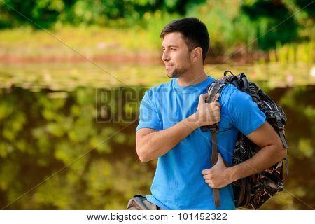 Pleasant man fishing