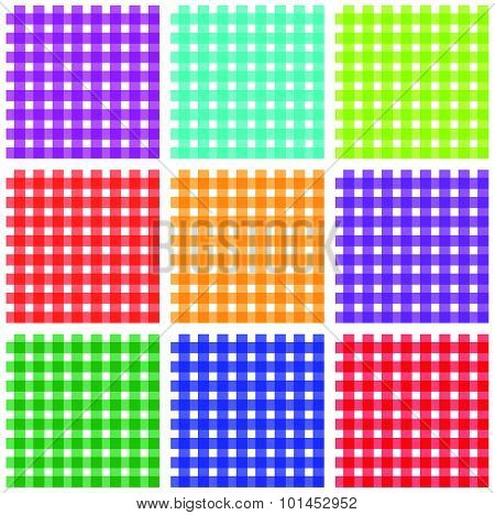 Repeatable, Colorful Checkered, Tartan Backgrounds, Patterns. Vector