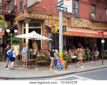 NEW YORK,USA - AUGUST 21,2015 : Traditional italian restaurant at historic Little Italy in New York