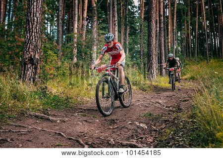three bikers in mountains by downhill