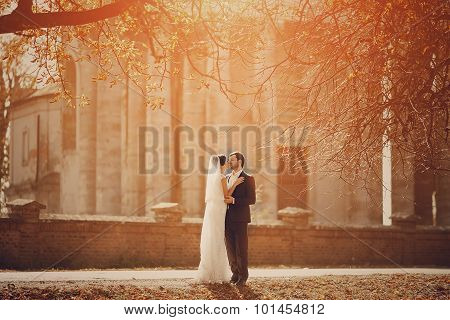 loving couple in the castle