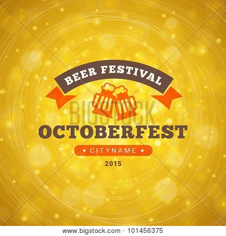 Octoberfest Celebration. Retro Style Badge Vector Template On Bright Yellow Background