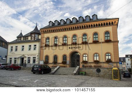 Reichenbach, Germany - August 27, 2015: Town hall and other bulidings at the market place of Riechenbach (Vogtland)