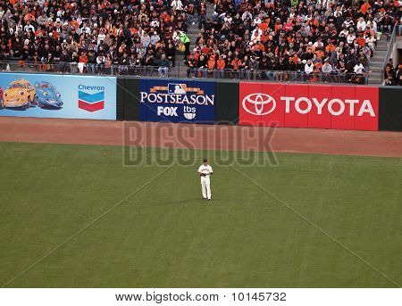 Giants Pat Burrell Stands In Left Field Between Plays