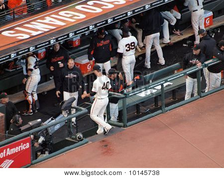 Giants Madison Bumgarner Steps Into The Dugout After The End Of Innings