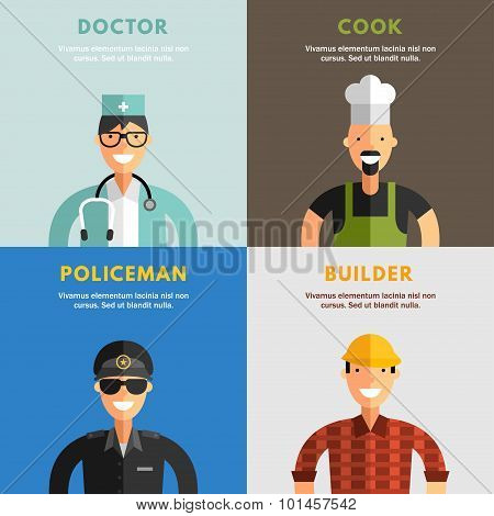 Set Of Flat Design Vector Illustrations Of Professional People Characters
