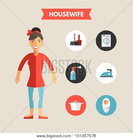 Flat Design Vector Illustration Of Housewife With Icon Set