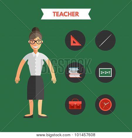 Flat Design Vector Illustration Of Teacher With Icon Set