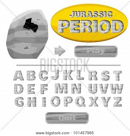 colorful of stylized under metal or rock alphabets for children's education or use for headings in o
